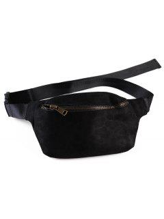 Zipper Fanny Pack Leopard Belt Bag - Black