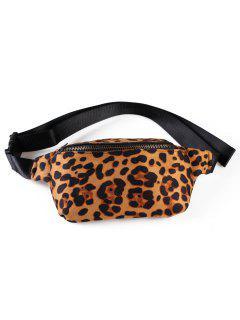 Zipper Fanny Pack Leopard Belt Bag - Camel Brown