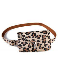 Stylish Leopard Fanny Pack Faux Leather Belt Bag - Apricot