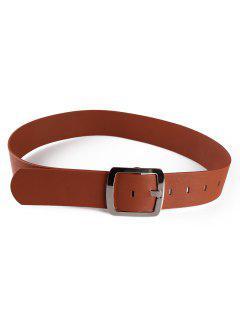 Metal Square Buckle Faux Leather Dress Belt - Chestnut