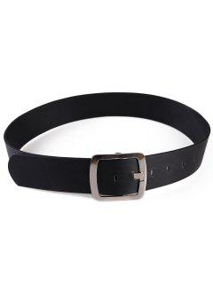 Metal Square Buckle Faux Leather Dress Belt - Black