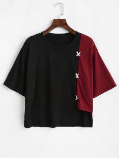 Camiseta Asimétrica De Dos Tonos En Cruz - Vino Tinto M