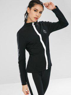 Embroidery Faux Leather Insert Slim T-shirt - Black Xl