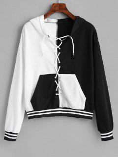 Lace-up Two Tone Pocket Hoodie - Black M