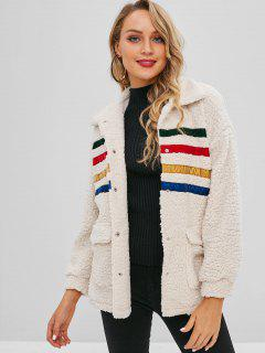 ZAFUL Striped Patched Pockets Faux Fur Coat - Beige S