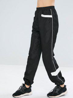 ZAFUL Contrast Piping Loose Jogger Pants - Black S
