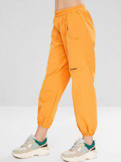 Letter Embroidered Pocket Jogger Pants - Bee Yellow