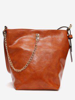 Vintage Large Capacity Bucket Crossbody Bag - Light Brown