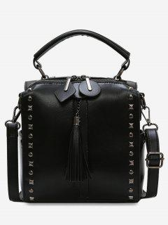Tassel Rivets Design PU Handbag - Black
