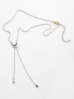 Star Moon Shape Tassel Design Necklace - Crystal Blue