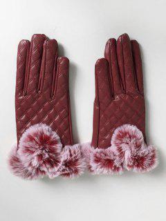 Winter Rhombus Full Finger Faux Fur Gloves - Red Wine
