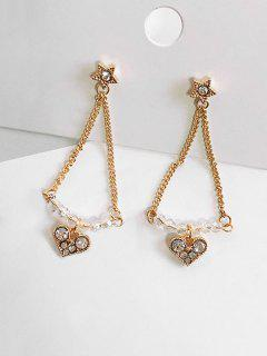 Beaded Rhinestone Star Shape Earrings - Gold