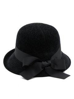 Vintage Ribbon Bowknot Bucket Hat - Black