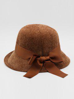 Vintage Ribbon Bowknot Bucket Hat - Brown