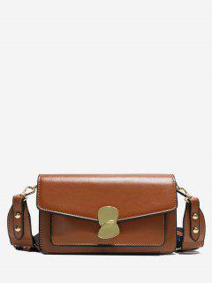 PU Leather Magnetic Snap Design Crossbody Bag - Brown