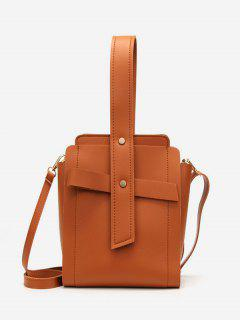 Vertical Shape Rivet Design Crossbody Bag - Brown