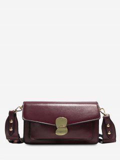 PU Leather Magnetic Snap Design Crossbody Bag - Red Wine