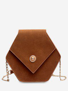 Link Chain Surb Leather Crossbody Bag - Brown