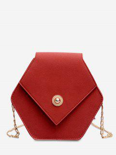Link Chain Surb Leather Crossbody Bag - Red