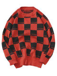 Suéter A Cuadros De Punto Jersey - Rojo M