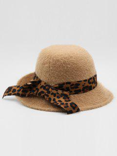 British Style Leopard Bowknot Holiday Hat - Khaki