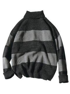 Turtleneck Color Block Knit Sweater - Black M