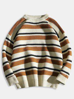 Suéter De Punto De Bloque De Color De Rayas Horizontales - Tigre Anaranjado L