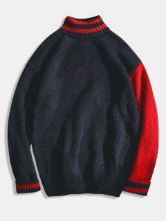 Suéter De Punto De Rayas De Cuello Alto Color Block - Negro S