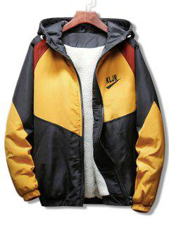 Panel Raglan Sleeve Hooded Coat - Yellow 3xl