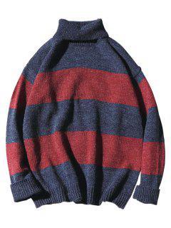 Turtleneck Color Block Knit Sweater - Blue Xs
