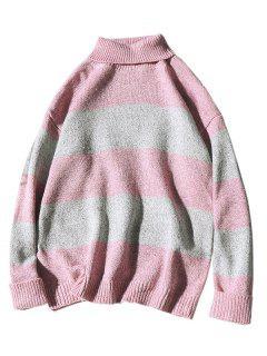 Suéter De Punto De Bloque De Color Cuello Alto - Rosado M