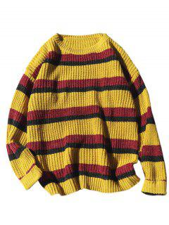 Stripe Loose Knit Sweater - Yellow L