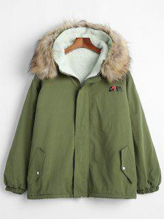 Solid Color Loose Fit Hooded Fluffy Jacket - Fern Green 2xl