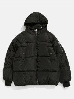 Solid Zipper Up Puffer Jacket - Black M