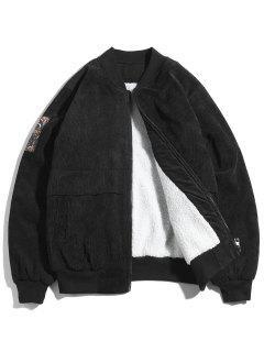 Letter Print Bomber Jacket - Black Xl