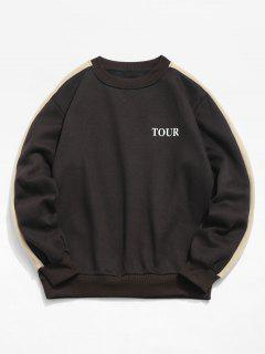 Letter Pattern Color Block Crew Neck Sweatshirt - Dark Slate Grey L