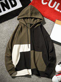 Color Block Long Sleeve Hoodie - Army Green S