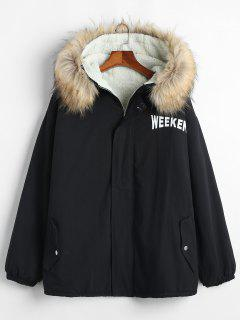 Solid Color Loose Fit Hooded Fluffy Jacket - Black L
