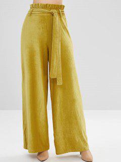 ZAFUL Ruffles Belted Corduroy Wide Leg Pants - Yellow M
