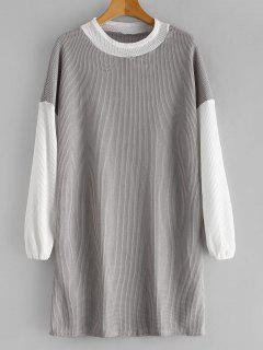 Long Sleeve Two Tone Sweater Dress - Gray Xl