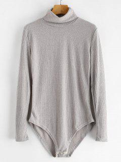 Turtleneck Ribbed Knit Bodysuit - Light Gray M