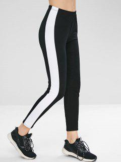 Side Stripe Tights Leggings - Black M