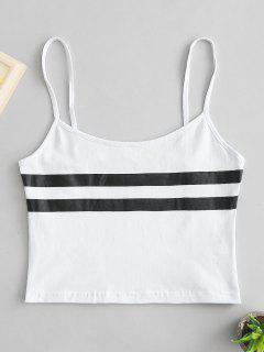Striped Crop Cami Top - White M