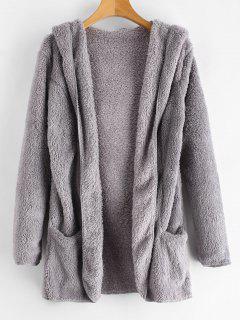 Fluffy Hooded Open Front Teddy Coat - Gray Cloud M