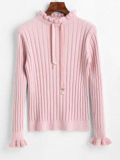 Cuello Simulado Suéter Con Cordón Ajustable - Rosado