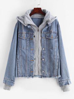 Zip Up Hooded Frayed Denim Jacket - Denim Blue L