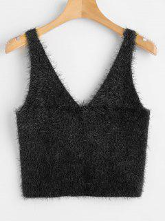 Vest Textured V Neck Sweater - Black M