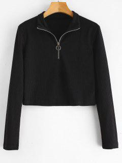 Ribbed Zipped Cropped Tee - Black M