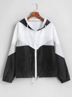 Zip Up Color Block Windbreaker Jacket - Multi-a Xl