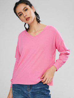 Camiseta De Manga Larga Con Cuello En V - Rosa Brillante Xl